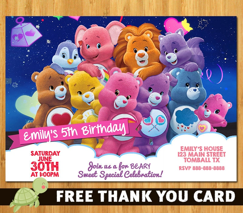 Care Bears Birthday Party Invitation – Care Bears Birthday Card