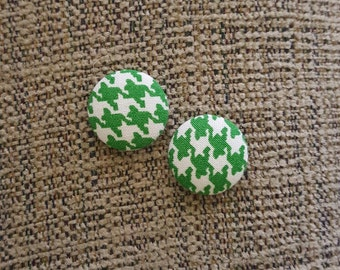 Houndstooth Fabric Button Cover Earrings