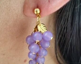 Grape Cluster Earrings Lavender