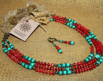Ethnic coral turquoise boho necklace and earrings Modern Traditional Ukrainian jewelry Coral Ukrainian Ethnic necklace Boho coral necklace