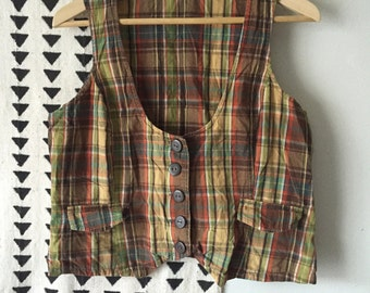 Vintage 90s plaid Vest XL