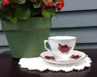 Vintage Royal Vale Tea Cup and Saucer, Red Roses Tea Cup and Saucer, Royal Vale, Porcelain Tea Cup and Saucer, Made in England