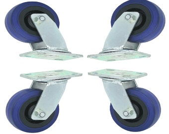 4 Rubber Swivel Wheels for tool carts cabinet toolbox storage carts for handmade furniture and more