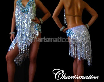 CHARISMATICO Blue Silver SALSA DANCE Dress
