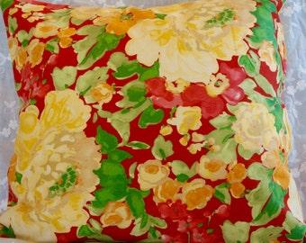 Throw Pillow Cover Garden Print 18 x 18 Indoor/ outdoor