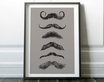 Hipster Print, Moustache Print, Barbers Print, Barbers Art, Mustache Art, Barbers Poster, Hipster Art, Hairdressers Print, Gift for Hipster