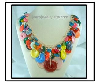 Crochet Vintage Button Necklace
