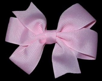 Small Basic Light Pink Hair Bow - Girls Hair Bow - Pink Hair Clip -