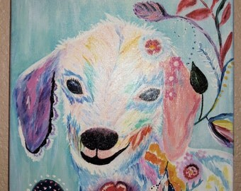 Billy the Kid....goat, flowers, canvas, acrylic, gesso, varnish, original