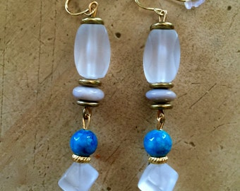 Frosted Glass and Turquoise Earrings
