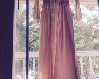 Pink Sheer Vintage Robe with Lace Trim