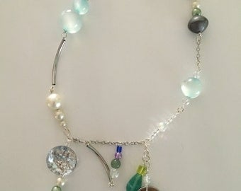 classy space girl charm necklace