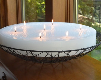 Custom hand poured 18 inch diameter round candle with multi wicks