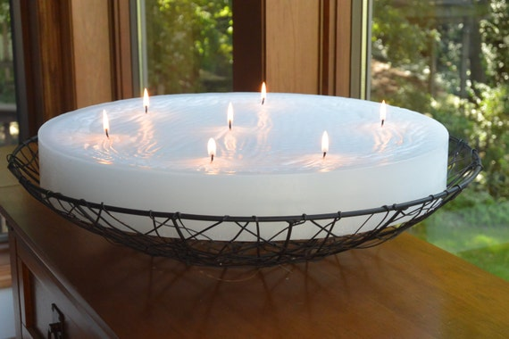 Hand poured custom made multi wick candle. 18 inch diameter