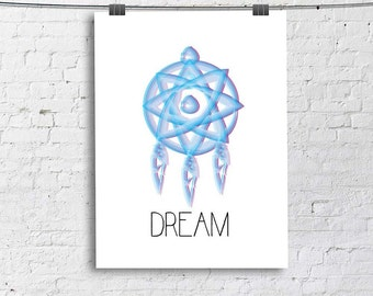 DREAM Catcher Art Print, Living Room Fine Art Print, Vertical Modern Art