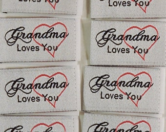 Sewing Labels - Grandma Loves You - Clothing Labels, Woven Labels