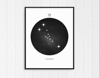 Taurus Print, Taurus Zodiac, Taurus Art, Taurus Printable Birthday Gift, Taurus Constellation, Horoscope Decor, Digital Download Zodiac