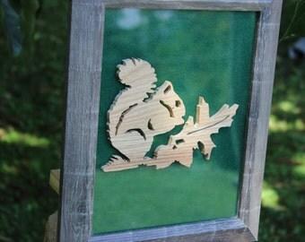 Framed Wooden Squirrel