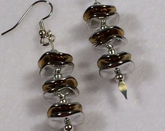 Gold and Silver Ripple Bead Earrings