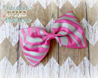Pink Zebra Hair Bow
