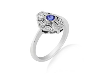 R009 Sapphire and Diamond Edwardian Style Ring
