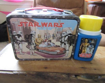 Vintage 1977 Star Wars Lunch Box With Thermos- Great Condition