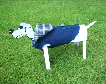 Handmade Blue Denim Dog Coat with Hood and Patch Pocket