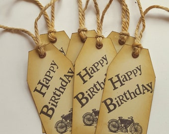 Motorcycle Birthday Tag