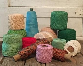 SALE 14 Vintage Crochet Thread Spools - Assorted Colors - Clarks - J&P Coats - Lily Sky-Tone