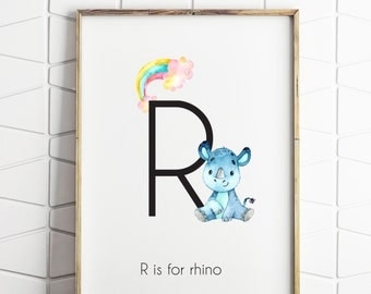 R is for rhino print, rhinoceros print, rhino print, safari print printable, printable wall art, rhino art print