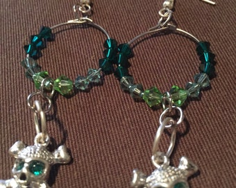 Skull & crossbone green bead hoop earrings