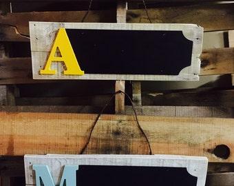 Custom Wooden Initial Chalkboard Sign