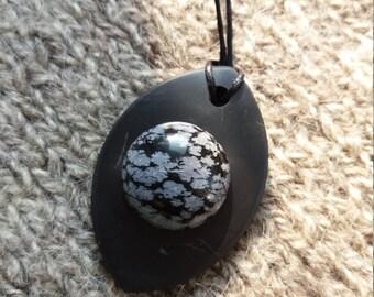 "Shungite pendant ""Petal with obsidian "" from Karelia magic aura stone talisman health"