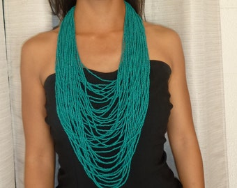Green Seed Bead Statement Necklace