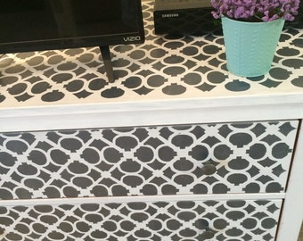 Intricately Hand Painted Shabby Chic White & Gray Dresser/Table/TV Stand