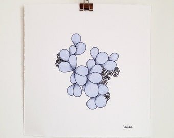 Original drawing made with pen and felt-tip pen, black and lilac illustration on Canson paper