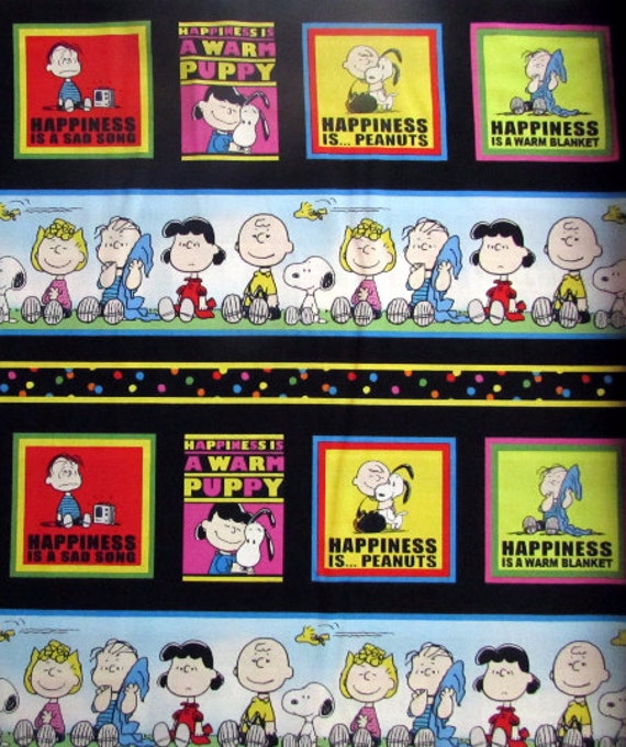 Peanuts Happiness Is Stripe Fabric From Quilting Treasures