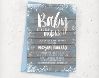 Baby It's Cold Outside Baby Shower Invitation -Blue Gray Snow Winter Boy Baby Shower - DIY Printable Digital File (Printing available)