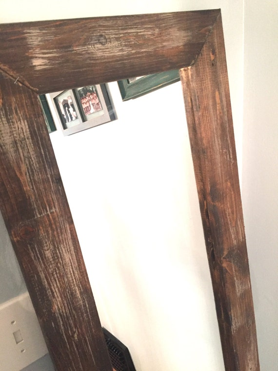 Rustic wooden mirror distressed wood full length mirror for Wood floor length mirror