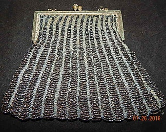 Vintage silver bead purse from the 1910-1920 era.