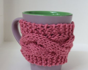 Pink mug cozy, 2 button
