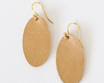 Leather Earrings, Oval, Gold, Small, Statement Earrings