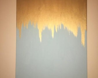 Gold and Light Blue Painting