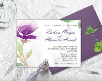 Wedding invitation watercolor. Printable wedding invitation. Floral wedding invites