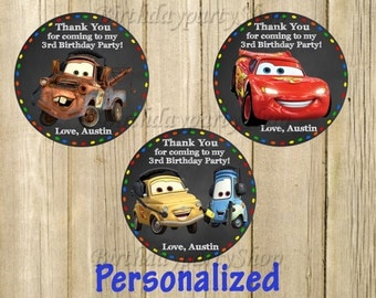 Disney Cars Favor Tag,Thomas Thank You Tags, Personalized, Digital File