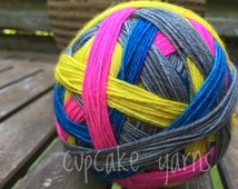 Happy and Bright | 4 Color Self Striping | Sock Yarn | Dyed to Order | Fingering Weight | Wool and Nylon | Hand Dyed Sock Yarn | Knit Socks