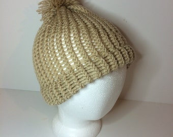 Tan Crochet Pom Pom Beanie Winter Hat