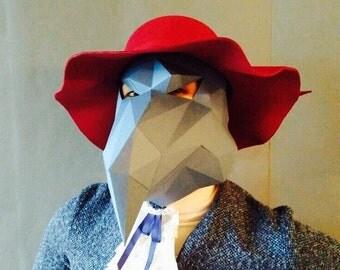 PDF Crow full face mask/DIY Crow mask/Paper Crow mask/DIY mask/Fancy dress/Halloween Mask/Printable Templates/Crow Mask/Bird