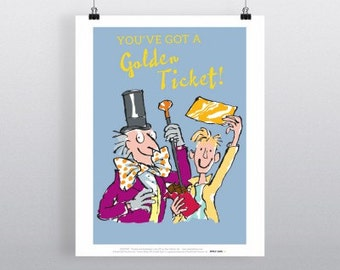 Art Print Roal Dahl Charlie & the Chocolate Factory Gold Ticket print