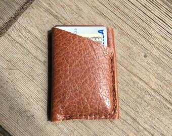 Bison leather wallet minimalist style
